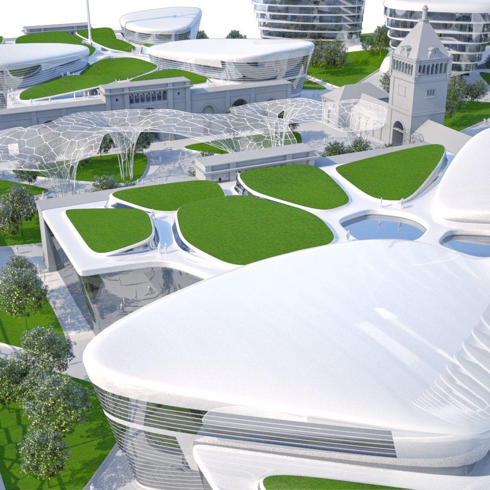 Közvágóhíd, Múzeum, lakó és irodaépület együttes beépítési koncepciója