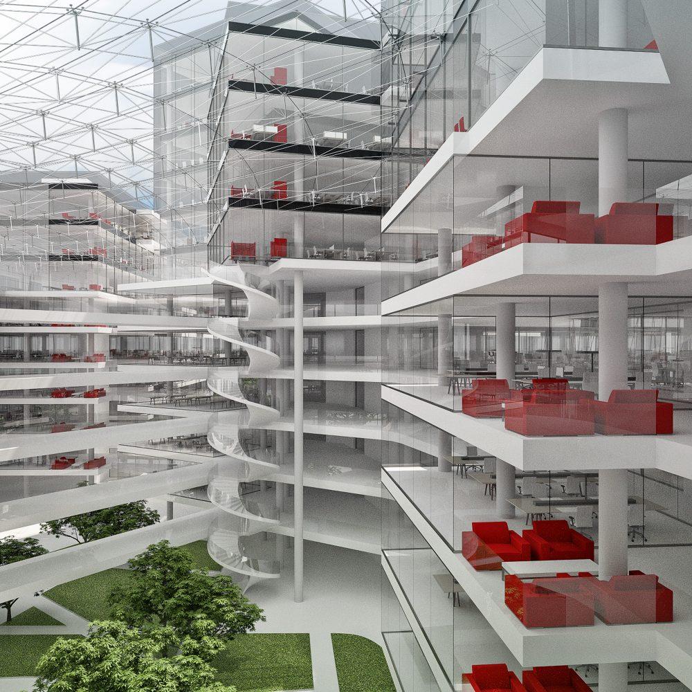 Váci úti irodaépület beépítési koncepciója